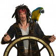 Stock Photo: Pirate at Captain's Wheel
