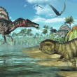 Prehistoric scene with Spinosaurus and Psittacosaurus Dinosaurs — Stock Photo