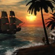 Tall Ship in Tropical Sunset — Zdjęcie stockowe