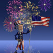 Uncle Sam Celebrates the Fourth of July - Stock Photo
