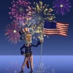Uncle Sam Celebrates the Fourth of July — Stock Photo