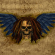 Winged Skull with Dreadlocks on Grunge - Stock Photo