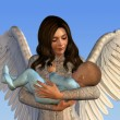 Angel Holding a Baby - Stock Photo