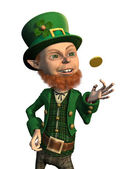 Lucky Leprechaun Flipping a Coin — Stock Photo
