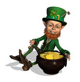Leprechaun with Treasure — Stock Photo