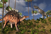 Kentrosaurus and Ceratosaurus — Stock Photo