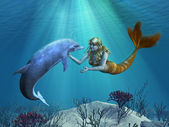 Mermaid with Dolphin Undersea — Stock Photo