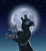 Mutant Wolf in Moonlight — Stock Photo