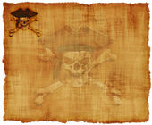 Grunge Pirate Skull Parchment — Stock Photo