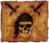 Pirate Skull on Old Parchment — Stock Photo
