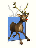 Rudolph Leaping through a Window — Stock Photo