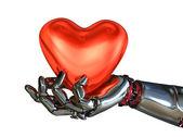 Robot Hand Holding Heart — Stock Photo
