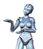 Female Robot Presenting Your Product — Stock Photo