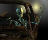 Friendly Skeleton Driver — Stockfoto