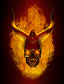 Horned Flaming Demon skull — Stock Photo