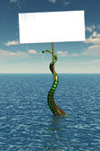 Tentacle in Sea with Blank Sign — Stock Photo