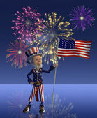 Uncle Sam Celebrates the Fourth of July — Stock Photo