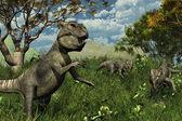 Three Archaeoceratops Dinosaurs Exploring — Stock Photo