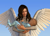 Angel Holding a Baby — Stock Photo