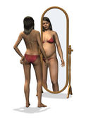 Anorexia - Distorted Body Image — Stock Photo