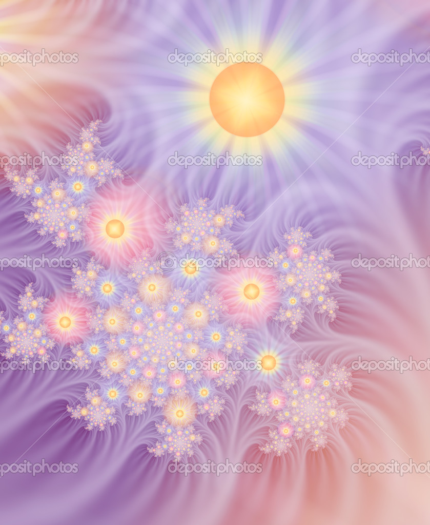 Several layers of fractals were combined to create this delicate image, suggestive of spun gossamer flowers in radiant spring sunshine. — Stock Photo #8280218