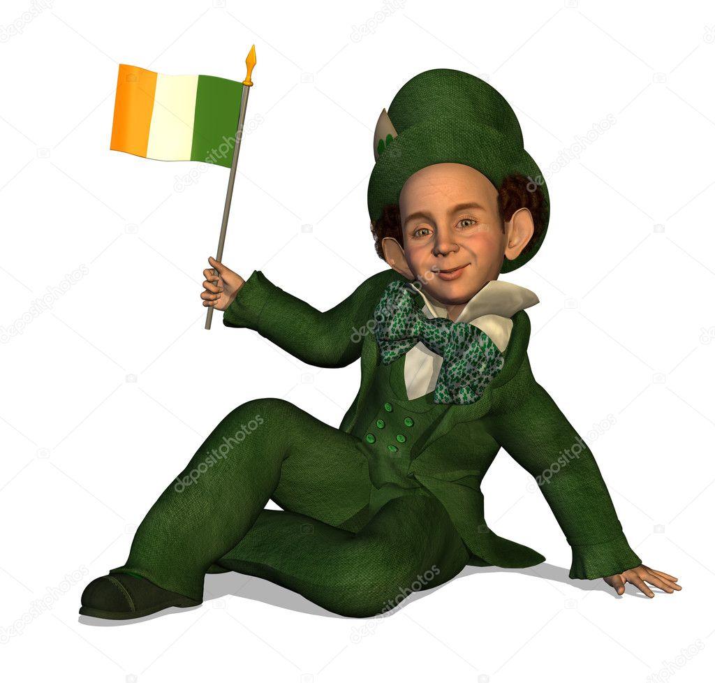 Leprechaun with Irish Flag — Stock Photo © AlienCat #8280405