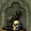 Egyptian Cat Statue with Human Skull — Stock Photo