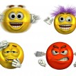 Four Expressive Emoticons - Stock Photo