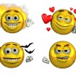 Four Expressive Smileys - Stock Photo