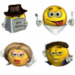 Four Unusual Emoticons — Stock Photo