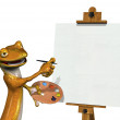 Gecko Artist with Blank Canvas 2 — Stock Photo