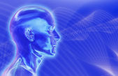 Blue Brainwaves Background — Stock Photo