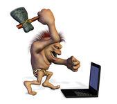 Hombre de las cavernas matando a un ordenador portátil — Foto de Stock