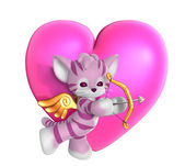 Cupid Kitty with Heart 2 — Stock Photo
