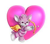 Cupid kitty med hjärta 2 — Stockfoto