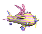 Easter Bunny Flying a Plane — Photo