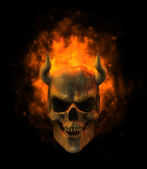 Flaming Demon Skull — Stok fotoğraf