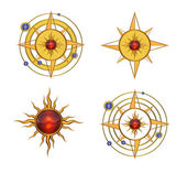 Four Solar Astral Symbols — Stock Photo