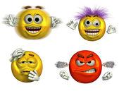 Four Expressive Emoticons — Stock Photo