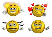 Four Expressive Smileys — Stock Photo