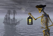 Skeleton Pirate with Ghost Ship — Stock Photo