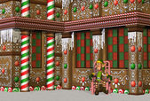 Gingerbread House with Elf — Stock Photo