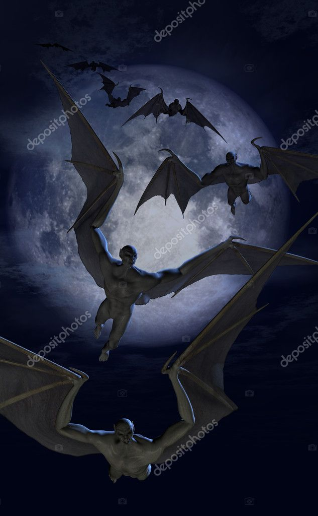 Invasion of the Bat Creatures - 3D renders and digital painting. — Stock Photo #8295256