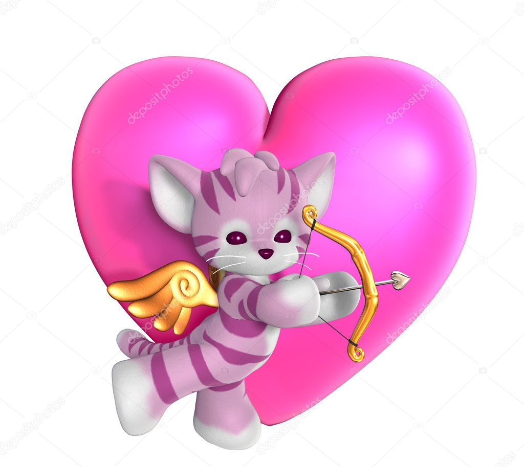 Cupid Kitty with Heart 2 - 3D render — Stock Photo #8295461