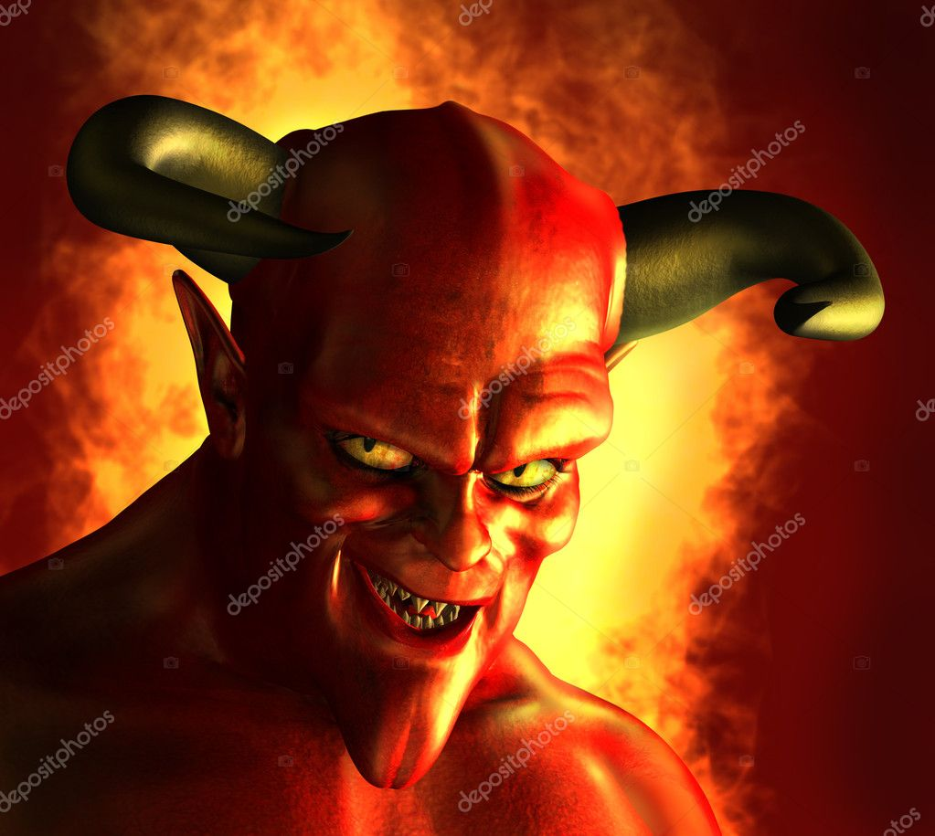 3D rendered portrait of a devil with a devious grin. — Stock Photo #8295531