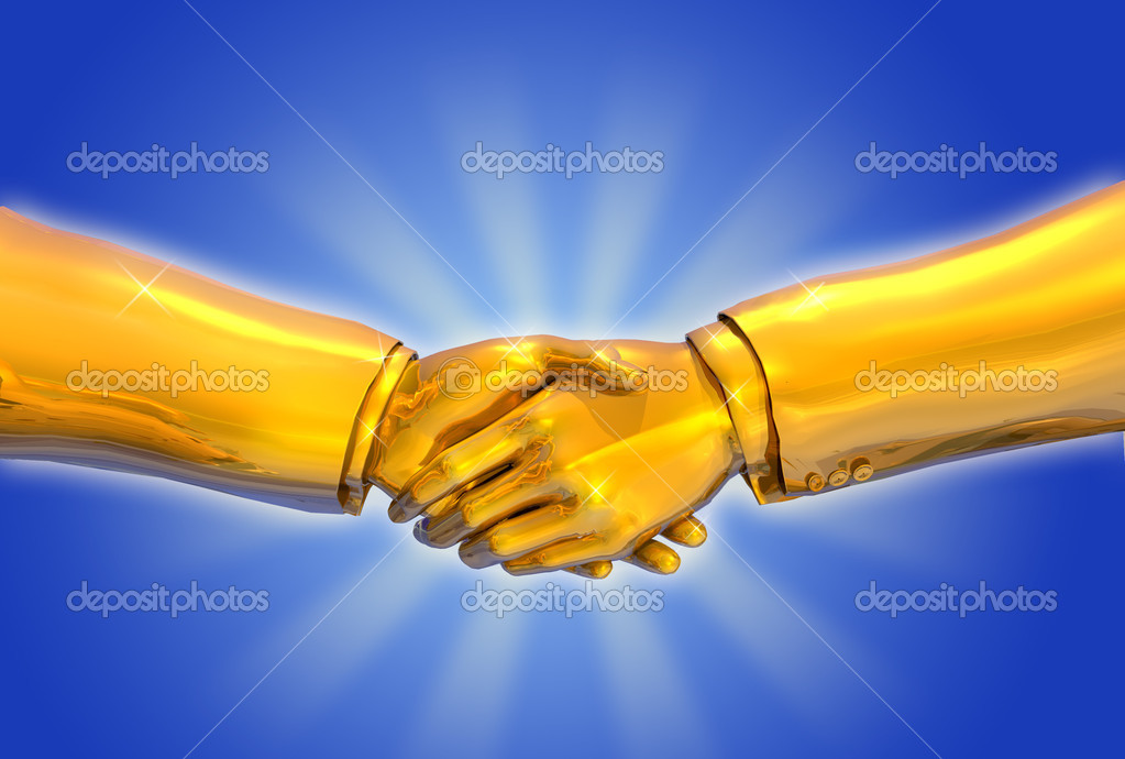Solid Gold Handshake - 3D render  — Stock Photo #8295817
