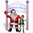Santa and his Elf at the North Pole — Stock Photo