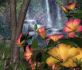 Hibiscus Flowers with Waterfalls — Stock Photo