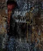 Horror muur met skelet — Stockfoto