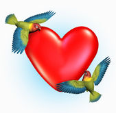 Two Lovebirds Near a Heart — Stock Photo